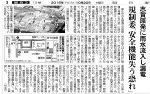 201610 朝日新聞-志賀原発に雨水流入して漏電